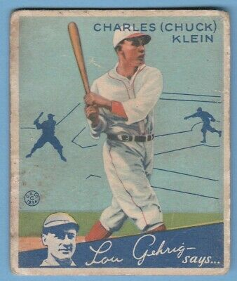 $12.50 • Buy 1934 Goudey #10 Charles Chuck Klein Chicago Cubs