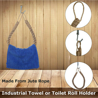 $12.51 • Buy Towel Holder Ring Wall Nautical Rope Industrial Steampunk Toilet Roll Paper Rack