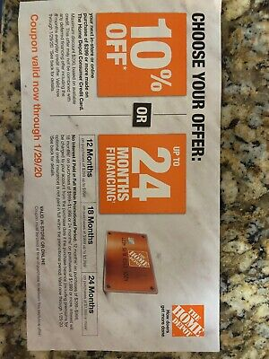$49.99 • Buy Home Depot 10% OFF Coupon Offer ONLINE/ IN STORE With HDCredit Card Exp 1/29/20