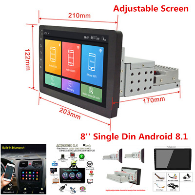 $ CDN149.56 • Buy 8'' Android 8.1 Adjustable Screen Car Stereo Radio Player GPS Wifi Mirror Link