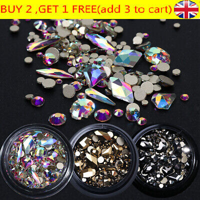 *3D Mixed Nail Art Rhinestones Crystal Gems Jewelry Gold AB Shiny Stones Decor* • 3.64£