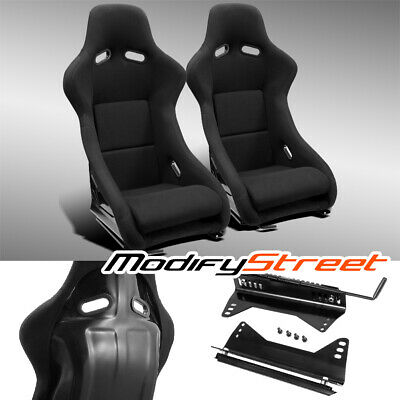 $399.99 • Buy 2 X JDM BLACK FABRIC LEFT/RIGHT FIBER GLASS POLE POSITION RACING BUCKET SEATS