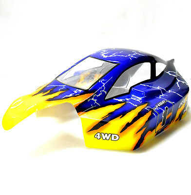 81364 Off Road Nitro RC 1/8 Scale Buggy Body Shell Yellow Blue HSP Cut Shell V2 • 15.19£