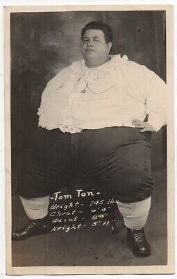$ CDN47.59 • Buy 1915 RPPC Postcard Of Circus Fat Man Tom Ton Who Weighed 745 Pounds