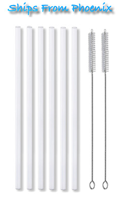 $6.45 • Buy New 6 Plastic Reusable Straws & Cleaning Brushes Fits Hydro Flask Straw Lids 10""