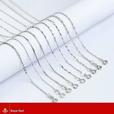 925 Sterling Silver Chain Plated Link Necklace 16 - 30  Inch Belcher Snake Curb  • 0.99£