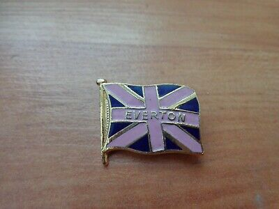 Classic Everton Fc Pink / Blue Flag Enamel Football Pin Badge • 9.99£