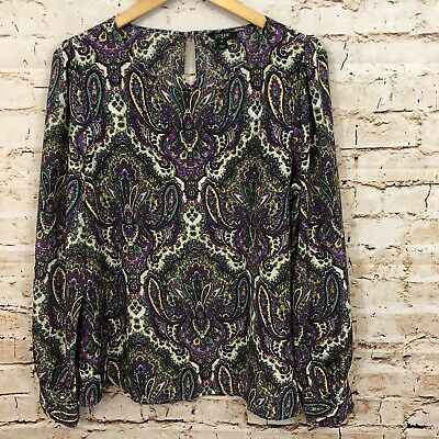 $12.30 • Buy J Crew Boat Neck Blouse Shirt Top Womens XL Paisley Talitha Purple Teal 91541 HO