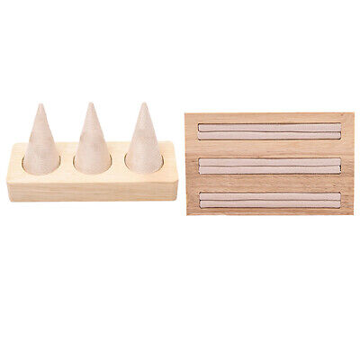2Pc Wooden Earring Bangle Display Stand Ring Holder Rack Showcase Organizer Tray • 20.74£