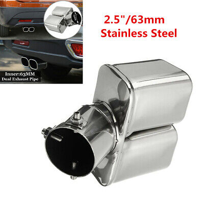 $ CDN23.49 • Buy 2.5  / 63mm Stainless Steel Bent Car Dual Exhaust Tip Square Tail Pipe Muffler