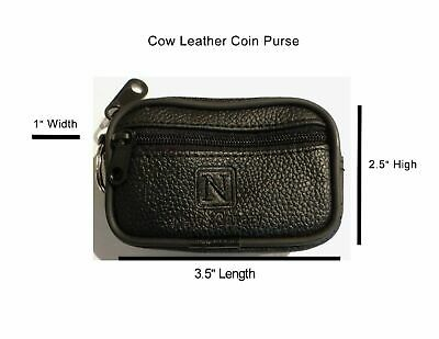 $8.95 • Buy Unisex Black Cow Leather Coin Change Purse