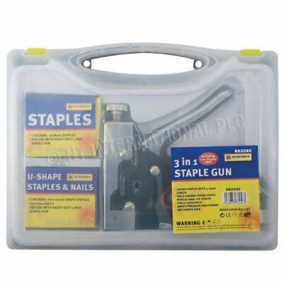 Staple Gun Nail Stapler Ideal On Upholstery & Wood With 600 Accessories • 9.99£
