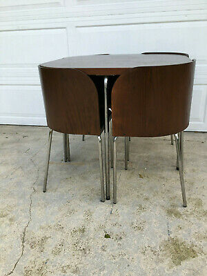 $475 • Buy Wood Dining Table And Set Of 4 Bent Plywood Chairs Chrome Legs