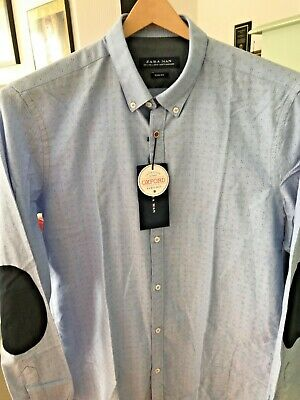 $19 • Buy Zara Man Collection Light Blue Printed Oxford Size Slim Fit Large