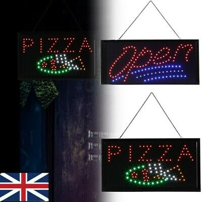 High Quality Flashing LED OPEN PIZZA Shop Sign Display Window Hanging Light UK • 11.54£