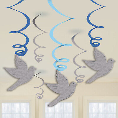 1st Holy Communion Celebration Hanging Swirls Blue Communion Party Decorations • 2.99£