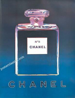 $175 • Buy Chanel N5 Perfume By Andy Warhol Original On Linen 22x29 Inches Blue/dkblue