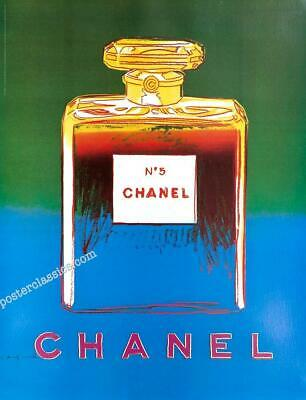 $175 • Buy Chanel N5 Perfume By Andy Warhol Original On Linen 22x29 Inches Blue/green