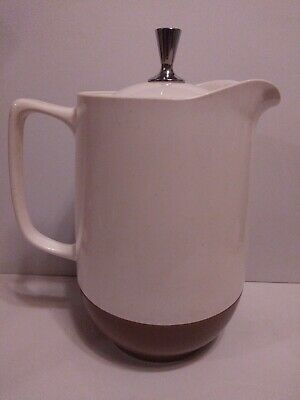 $22.50 • Buy VINTAGE VACRON Cream And Brown BOPP-DECKER LIDDED PITCHER WITH CHROME KNOB  MCM