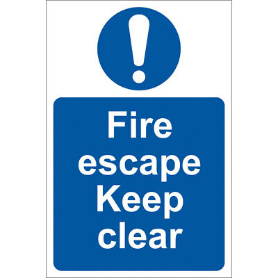 Draper Fire Escape Keep Clear Self Adhesive Sign Notice • 10.92£