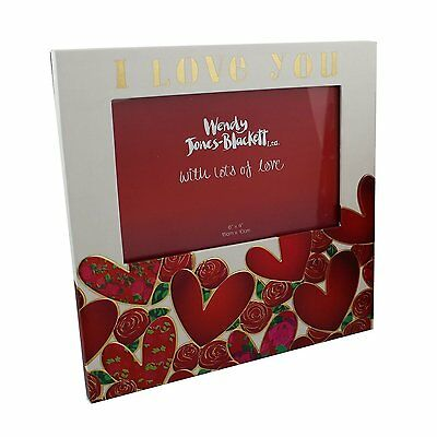 Heart Desgn 6 X 4  Photo Frame With Roses And Sentiment Wording  I Love You    • 10.99£