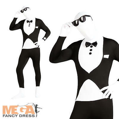 Tuxedo 2nd Skin Lycra Bodysuit Skinz Mens Fancy Dress James Bond Adult Costume • 22.99£