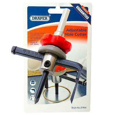 £28.62 • Buy Draper Adjustable Hole Cutter For Wood Or Plastic 40mm-120mm Cutting Tool 31950