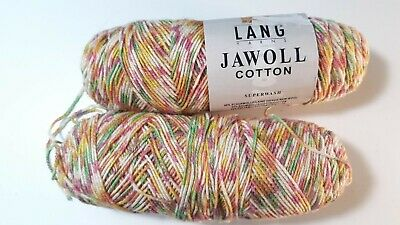 $10.50 • Buy Lot Of 2 Skeins Of LANG Yarns Jawoll Cotton Super Wash Multi-Color Wool Yarn 151