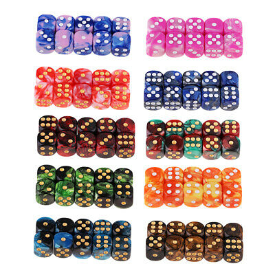 AU35.74 • Buy 100 Pieces Multi-color 6 Sided (D6) Role Play Gaming Dice Set With Pips