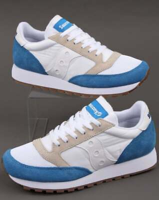 Saucony Jazz Vintage Trainers In White & Blue - Retro Classic Runners, Shoes • 75£