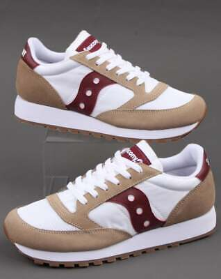 Saucony Jazz Vintage Trainers In White & Burgundy - Retro Classic Runners, Shoes • 75£