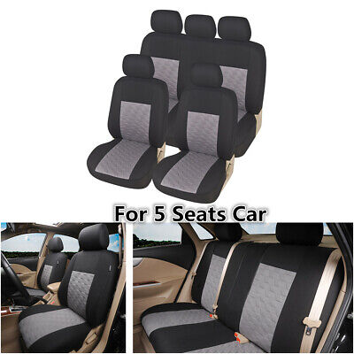 $ CDN40.61 • Buy 9Pcs Gray Polyester Car Seat Covers Protector Full Set For Interior Accessories