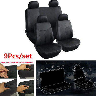 $ CDN46.39 • Buy 9Pcs Car Seat Covers Front+Rear PU Leather Protector For Interior Accessories