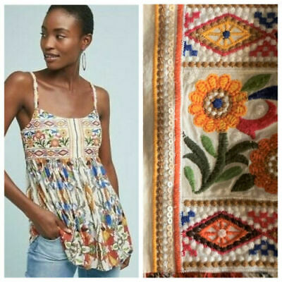 $ CDN37.47 • Buy Women's ONE SEPTEMBER Fowler Tank Top Small S Embroidered Floral Anthropologie