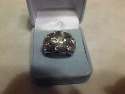 $ CDN13.09 • Buy Lia Sophia Silver, Gray With Cut Crystals Ring  Panache  Size 10 NEW