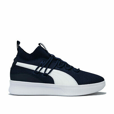 Mens Puma Clyde Court Basketball Trainers In Peacoat- Breathable Knitted Upper • 39.99£