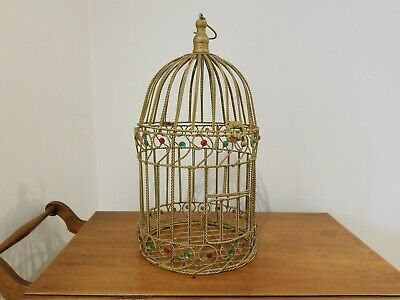 $39.85 • Buy Vintage Gold Wired Domed Bejeweled Bird Cage Round Decorative 19  Tall EUC
