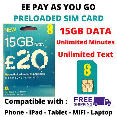 £14.99 • Buy EE Pay As You Go Sim Card With £20 Preloaded Credit 50GB Data Unlimited Text 4G