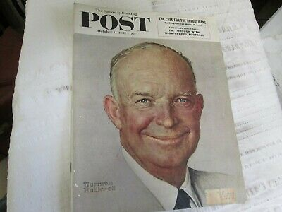 $ CDN18.50 • Buy Saturday Evening Post October 11 1952 Norman Rockwell- The Case For Republicans