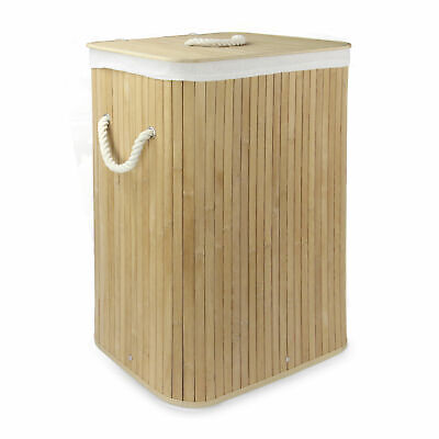 Bamboo Laundry Basket 72L Collapsible Washing Basket Storage Hamper M&W • 13.99£