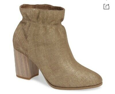 $ CDN86.01 • Buy Kelsi Dagger Brooklyn Wicked Chunky Heel Bootie In Gold Rush Size 10