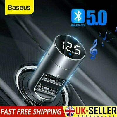 Baseus Bluetooth 5.0 Car Charger Dual USB Wireless FM Transmitter MP3 Player Kit • 13.79£