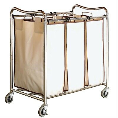 $139.35 • Buy Heavy Duty Laundry Cart With 3 Cream Tan Hamper Bags And Lockable Wheels  123