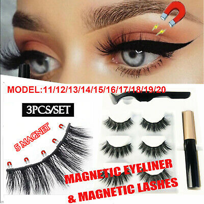 AU13.38 • Buy Magnetic False Eyelashes Natural Eye Lashes Extension Liquid Eyeliner Tweezer