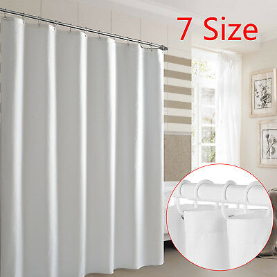 Waterproof Fabric White Bathroom Shower Curtain Plain With Hooks Ring Extra Long • 7.99£