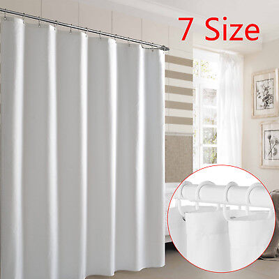 £6.74 • Buy Waterproof Fabric White Bathroom Shower Curtain Plain With Hooks Ring Extra Long