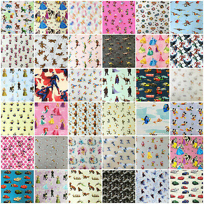 Disney Fabric 100% Cotton Characters Princess Winnie Toy Story Heros 140cm Wide • 4.55£