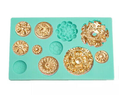 European Retro Embossed Gem Round Deco Shaped Silicone Mold Cake • 7.99£