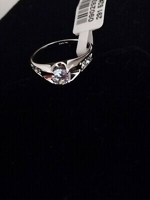 Round Clear Cubic Zirconia Wedding Jewellery  925 Silver Rings Size O • 4.42£