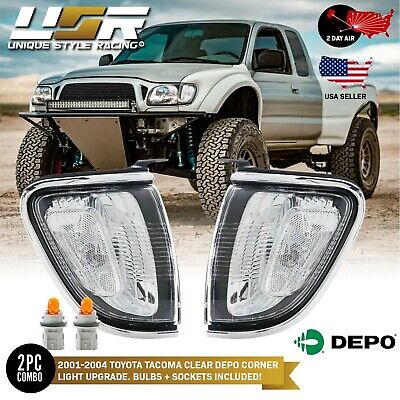 $74.71 • Buy 2 Day AIR To Hawaii Chrome Frame CLEAR Corner Light For 2001-2004 Toyota Tacoma